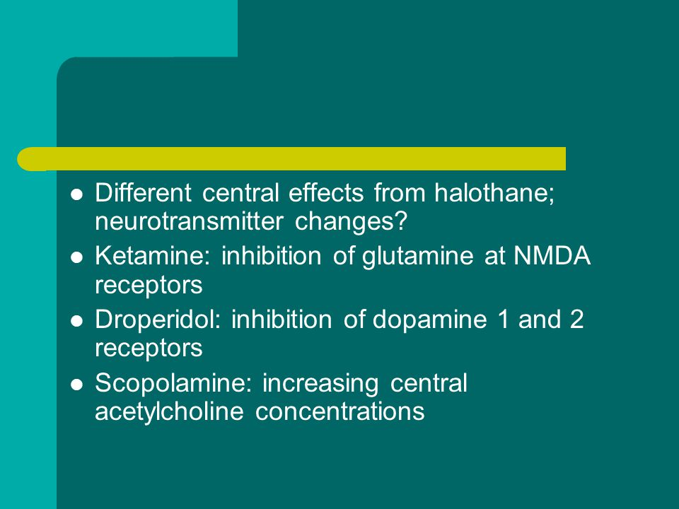Different central effects from halothane; neurotransmitter changes.