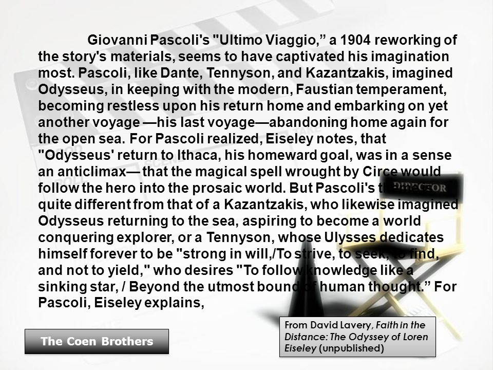 Giovanni Pascoli s Ultimo Viaggio, a 1904 reworking of the story s materials, seems to have captivated his imagination most.