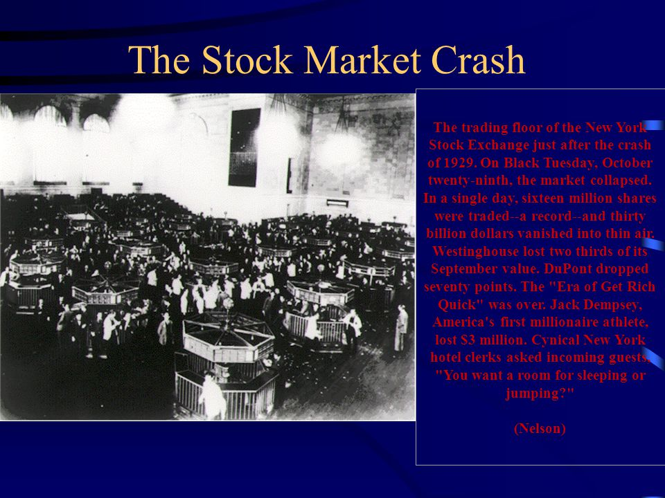 The trading floor of the New York Stock Exchange just after the crash of 1929. On Black Tuesday, October twenty-ninth, the market collapsed. In a sing