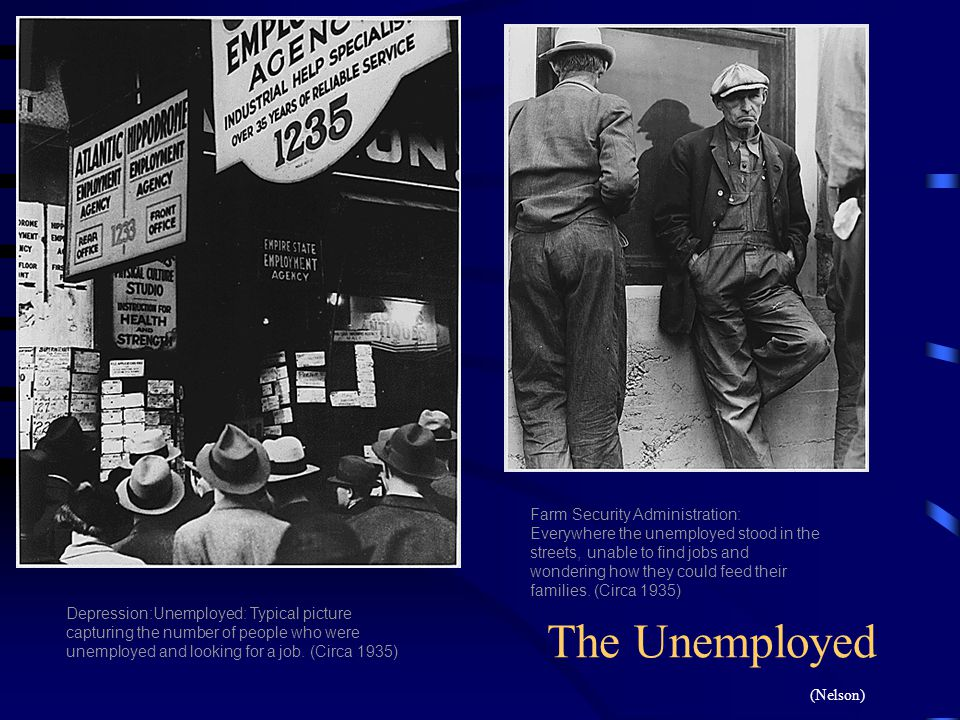 Farm Security Administration: Everywhere the unemployed stood in the streets, unable to find jobs and wondering how they could feed their families. (C