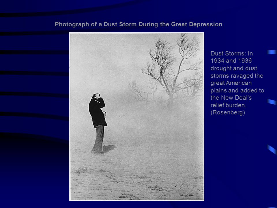 Photograph of a Dust Storm During the Great Depression Dust Storms: In 1934 and 1936 drought and dust storms ravaged the great American plains and add