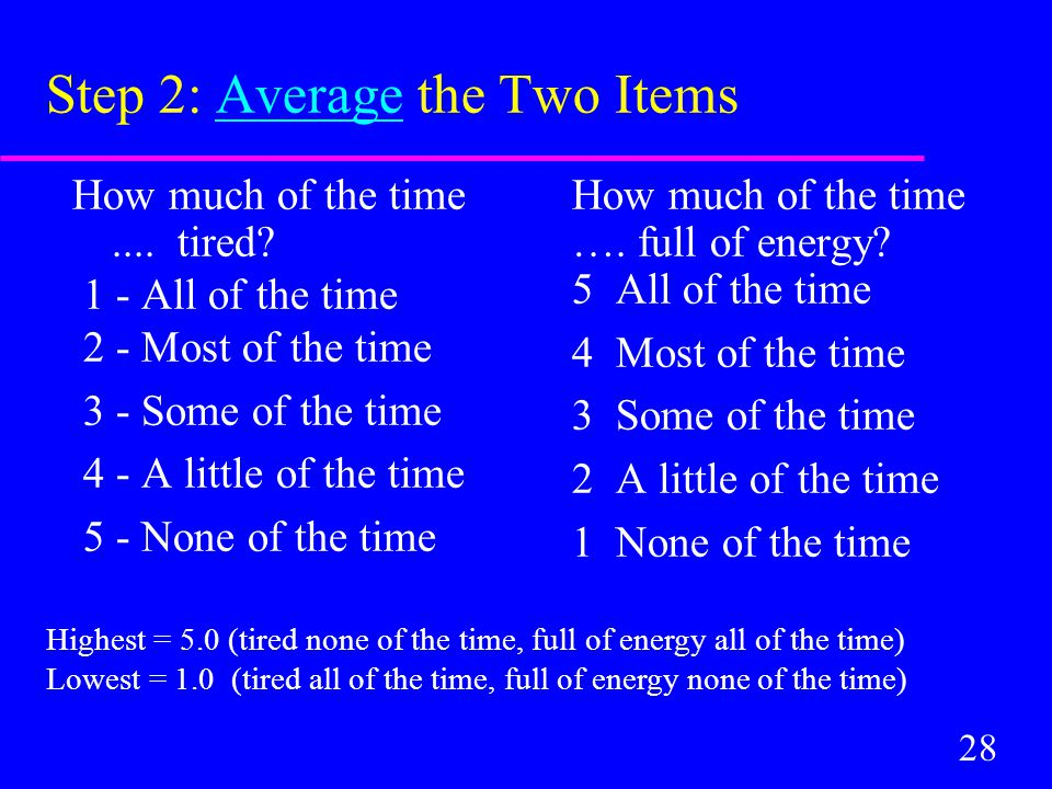 28 Step 2: Average the Two Items How much of the time....