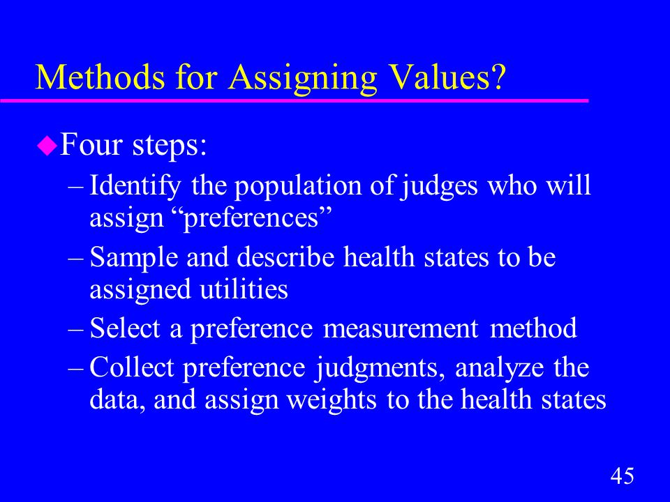 45 Methods for Assigning Values.