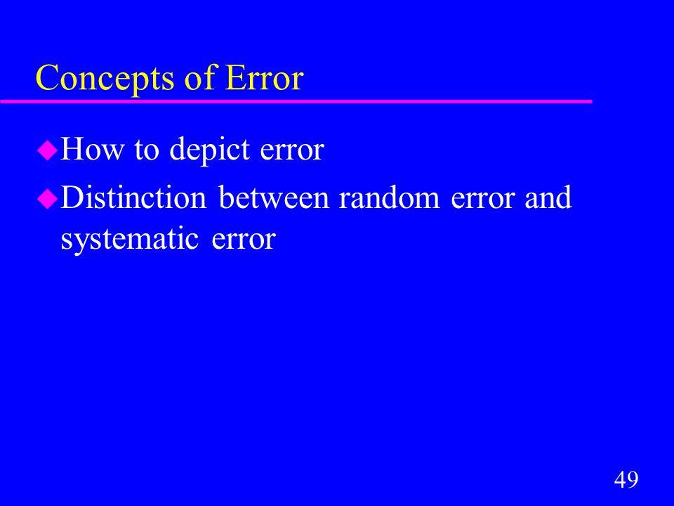 49 Concepts of Error u How to depict error u Distinction between random error and systematic error