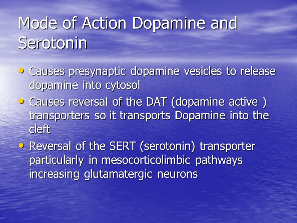 Mode of Action Dopamine and Serotonin Causes presynaptic dopamine vesicles to release dopamine into cytosol Causes presynaptic dopamine vesicles to release dopamine into cytosol Causes reversal of the DAT (dopamine active ) transporters so it transports Dopamine into the cleft Causes reversal of the DAT (dopamine active ) transporters so it transports Dopamine into the cleft Reversal of the SERT (serotonin) transporter particularly in mesocorticolimbic pathways increasing glutamatergic neurons Reversal of the SERT (serotonin) transporter particularly in mesocorticolimbic pathways increasing glutamatergic neurons