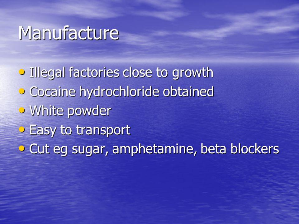Manufacture Illegal factories close to growth Illegal factories close to growth Cocaine hydrochloride obtained Cocaine hydrochloride obtained White powder White powder Easy to transport Easy to transport Cut eg sugar, amphetamine, beta blockers Cut eg sugar, amphetamine, beta blockers