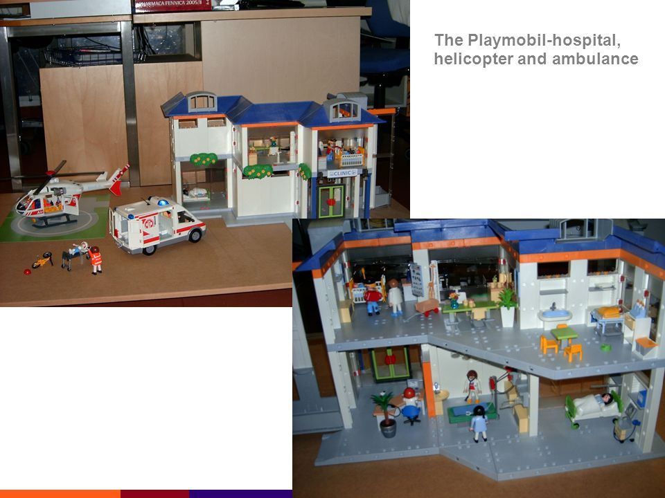 The Playmobil-hospital, helicopter and ambulance