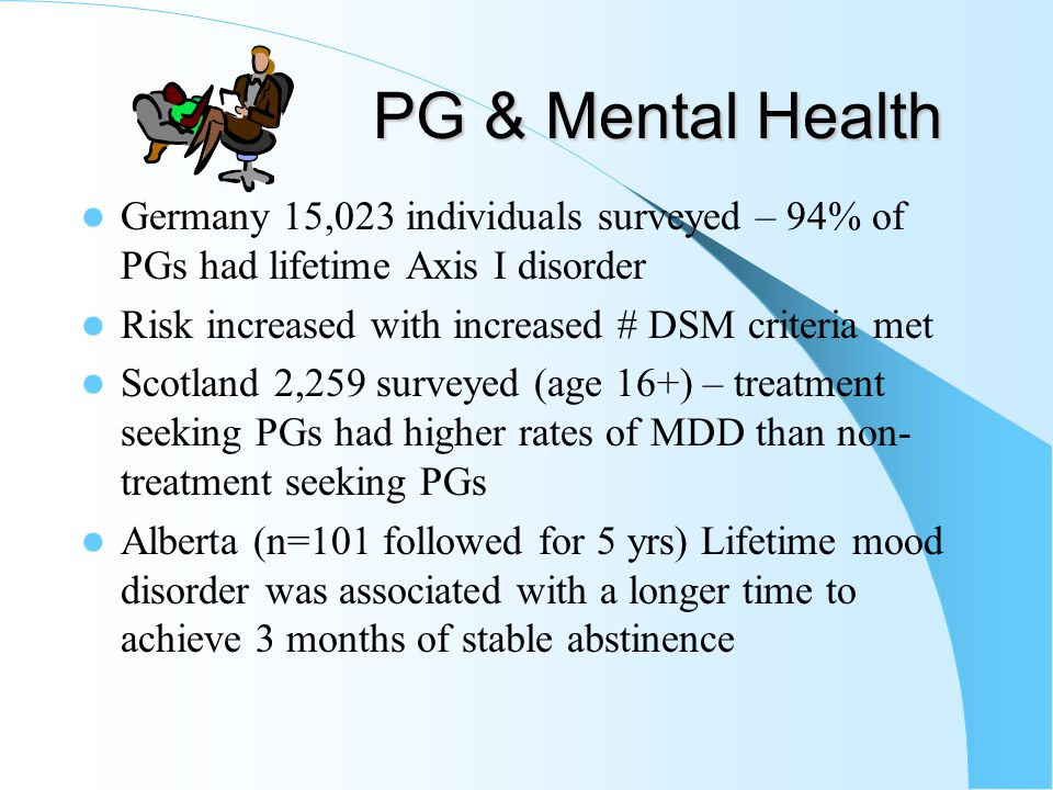 Pathological Gambling Among Mental Patients Note: All studies based on structured interviews; chart reviews excluded as they under-report diagnoses