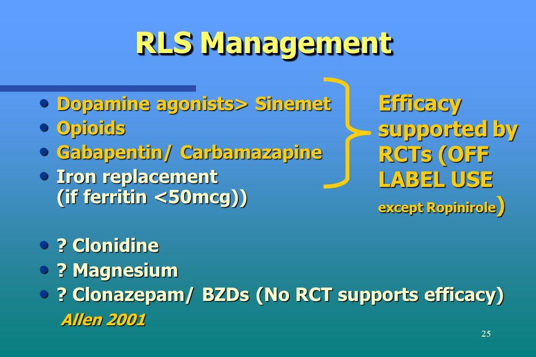 25 RLS Management Dopamine agonists> Sinemet Dopamine agonists> Sinemet Opioids Opioids Gabapentin/ Carbamazapine Gabapentin/ Carbamazapine Iron repla