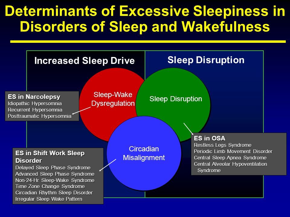 Increased Sleep Drive Sleep Disruption Circadian Misalignment Circadian Misalignment Sleep-Wake Dysregulation Sleep-Wake Dysregulation ES in Shift Work Sleep Disorder Delayed Sleep Phase Syndrome Advanced Sleep Phase Syndrome Non-24-Hr Sleep-Wake Syndrome Time Zone Change Syndrome Circadian Rhythm Sleep Disorder Irregular Sleep Wake Pattern ES in Narcolepsy Idiopathic Hypersomnia Recurrent Hypersomnia Posttraumatic Hypersomnia ES in OSA Restless Legs Syndrome Periodic Limb Movement Disorder Central Sleep Apnea Syndrome Central Alveolar Hypoventilation Syndrome Determinants of Excessive Sleepiness in Disorders of Sleep and Wakefulness