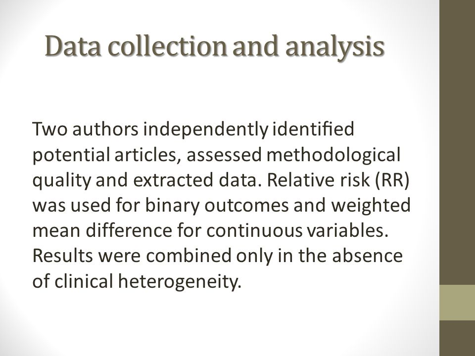 Data collection and analysis Two authors independently identified potential articles, assessed methodological quality and extracted data. Relative risk
