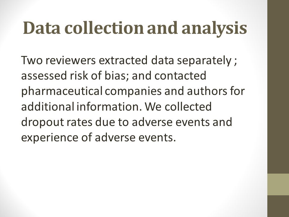Data collection and analysis Two reviewers extracted data separately ; assessed risk of bias; and contacted pharmaceutical companies and authors for a