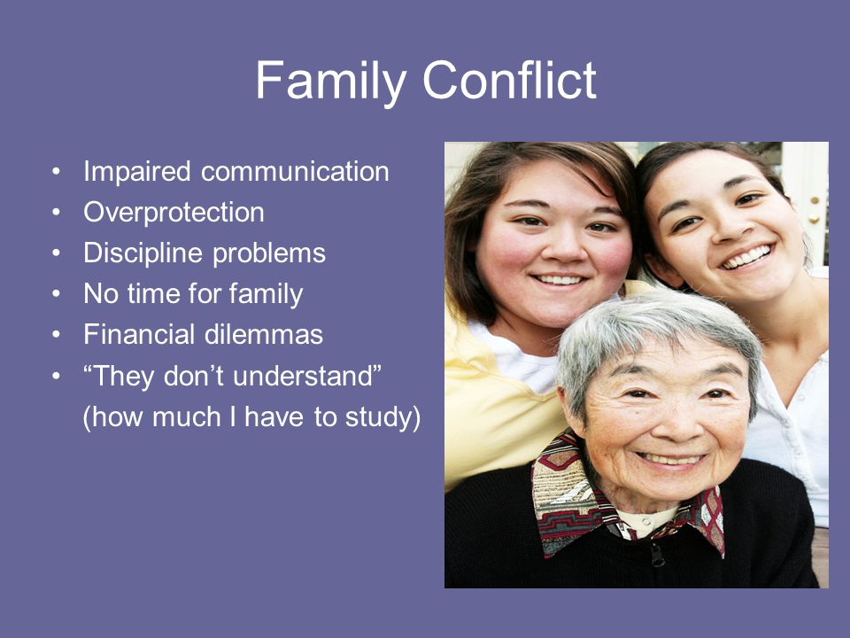 Family Conflict Impaired communication Overprotection Discipline problems No time for family Financial dilemmas They don't understand (how much I have to study)