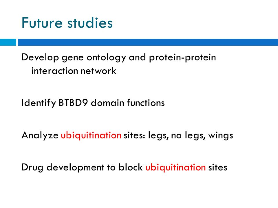 Future studies Develop gene ontology and protein-protein interaction network Identify BTBD9 domain functions Analyze ubiquitination sites: legs, no legs, wings Drug development to block ubiquitination sites