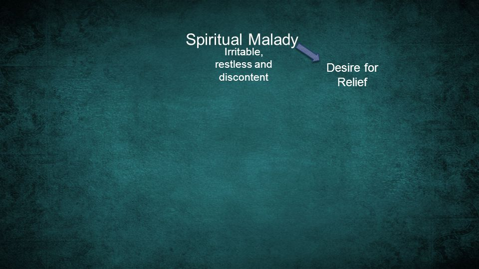 Spiritual Malady Irritable, restless and discontent Desire for Relief