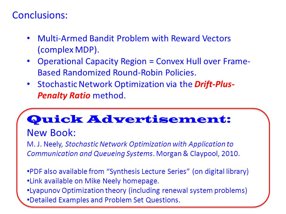 Conclusions: Quick Advertisement: New Book: M. J.
