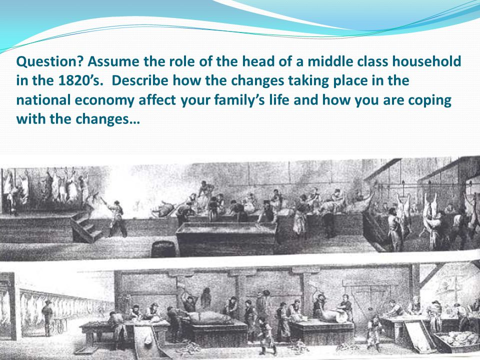Question? Assume the role of the head of a middle class household in the 1820's. Describe how the changes taking place in the national economy affect