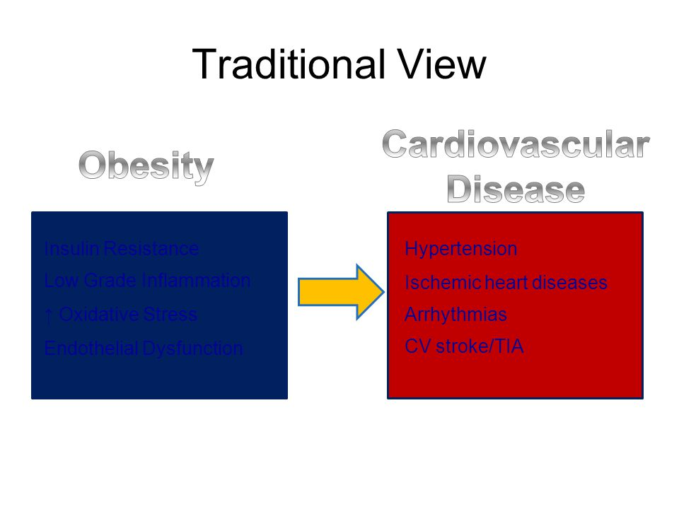 Traditional View Insulin Resistance Low Grade Inflammation ↑ Oxidative Stress Endothelial Dysfunction Hypertension Ischemic heart diseases Arrhythmias CV stroke/TIA