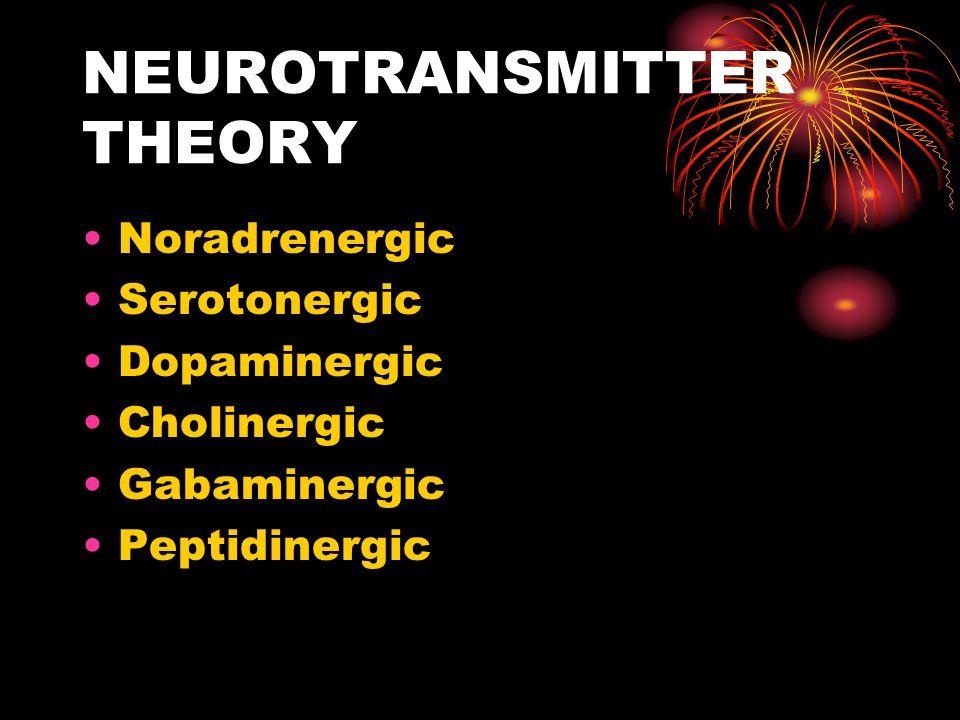 NEUROTRANSMITTER THEORY Noradrenergic Serotonergic Dopaminergic Cholinergic Gabaminergic Peptidinergic