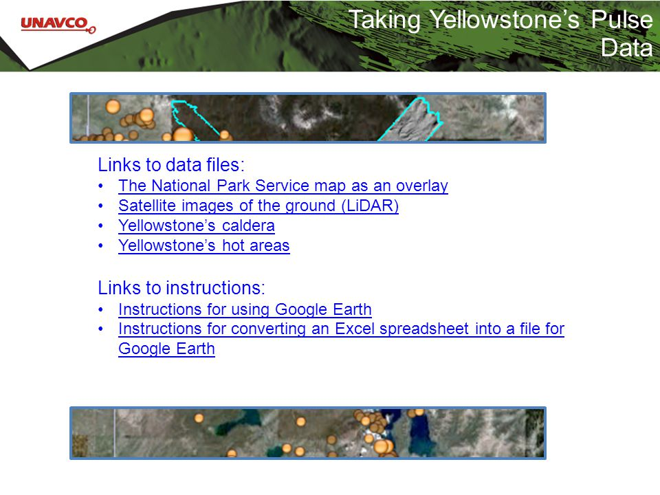 Taking Yellowstone's Pulse Data Links to data files: The National Park Service map as an overlay Satellite images of the ground (LiDAR) Yellowstone's