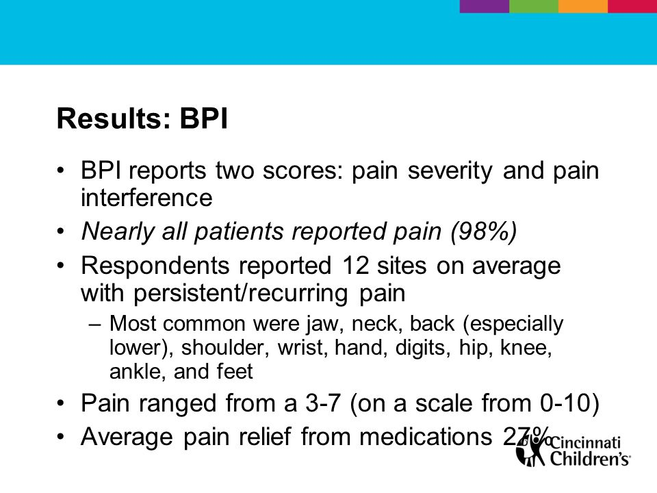 Results: BPI BPI reports two scores: pain severity and pain interference Nearly all patients reported pain (98%) Respondents reported 12 sites on average with persistent/recurring pain –Most common were jaw, neck, back (especially lower), shoulder, wrist, hand, digits, hip, knee, ankle, and feet Pain ranged from a 3-7 (on a scale from 0-10) Average pain relief from medications 27%