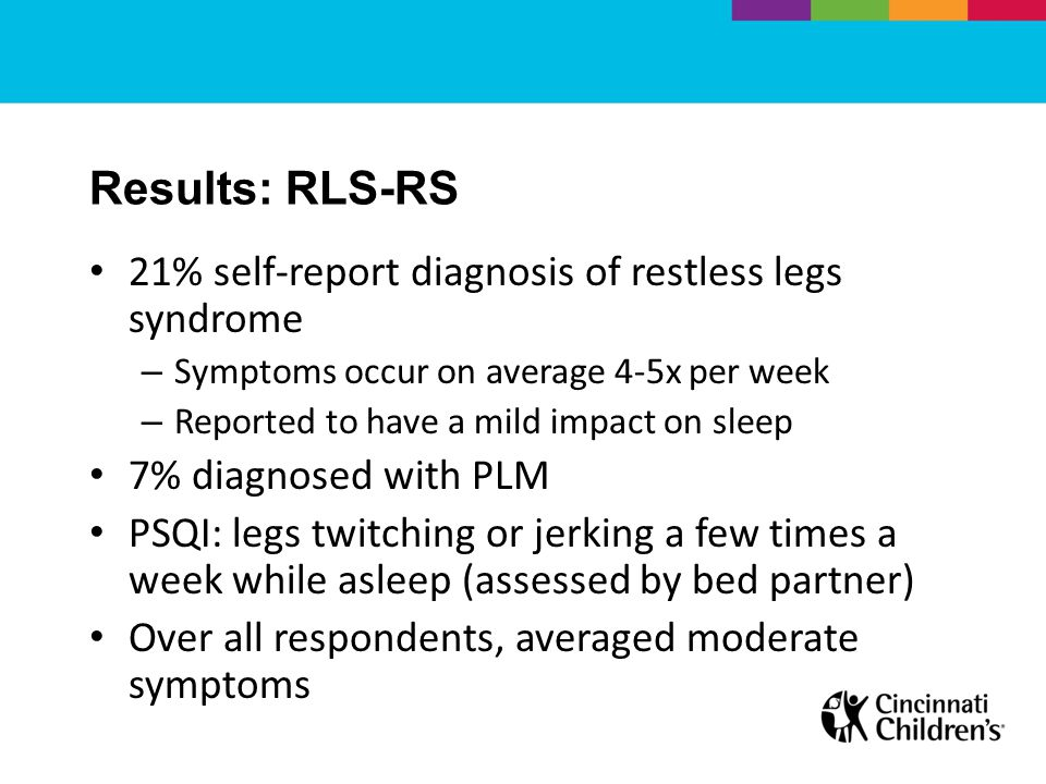 Results: RLS-RS 21% self-report diagnosis of restless legs syndrome – Symptoms occur on average 4-5x per week – Reported to have a mild impact on sleep 7% diagnosed with PLM PSQI: legs twitching or jerking a few times a week while asleep (assessed by bed partner) Over all respondents, averaged moderate symptoms