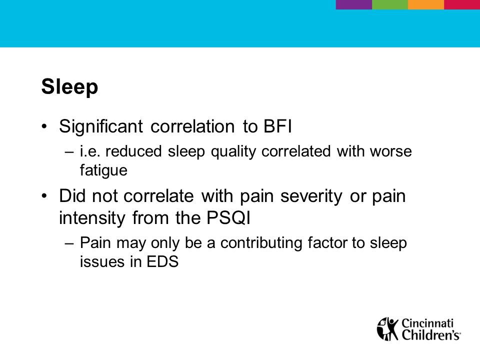 Sleep Significant correlation to BFI –i.e.