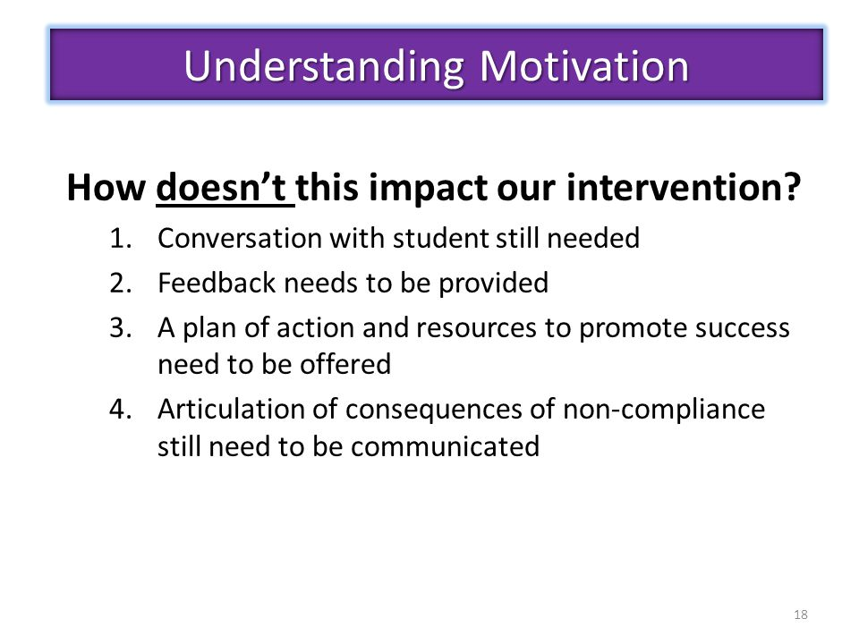 18 Understanding Motivation How doesn't this impact our intervention? 1.Conversation with student still needed 2.Feedback needs to be provided 3.A pla