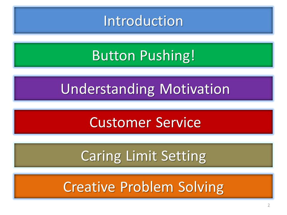 Introduction 2 Button Pushing! Understanding Motivation Understanding Motivation Customer Service Customer Service Creative Problem Solving Caring Lim