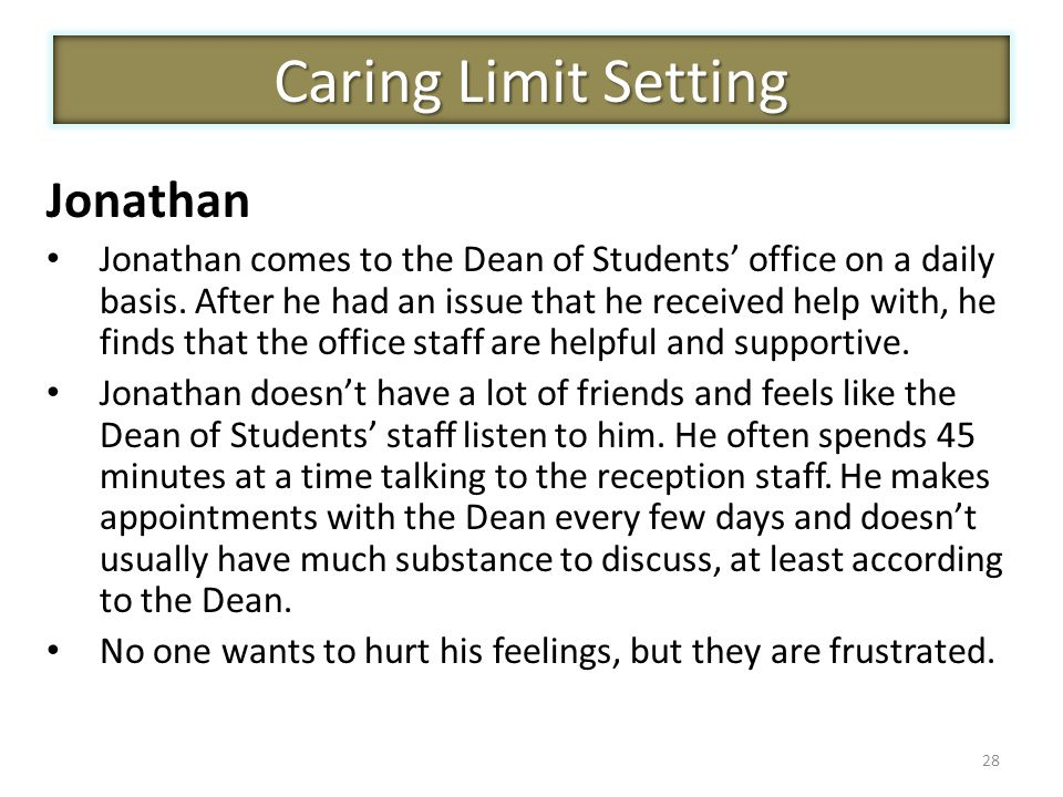 28 Jonathan Jonathan comes to the Dean of Students' office on a daily basis. After he had an issue that he received help with, he finds that the offic