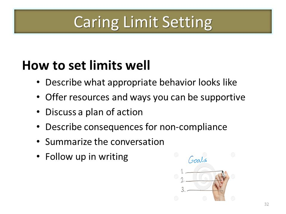 32 Caring Limit Setting How to set limits well Describe what appropriate behavior looks like Offer resources and ways you can be supportive Discuss a plan of action Describe consequences for non-compliance Summarize the conversation Follow up in writing