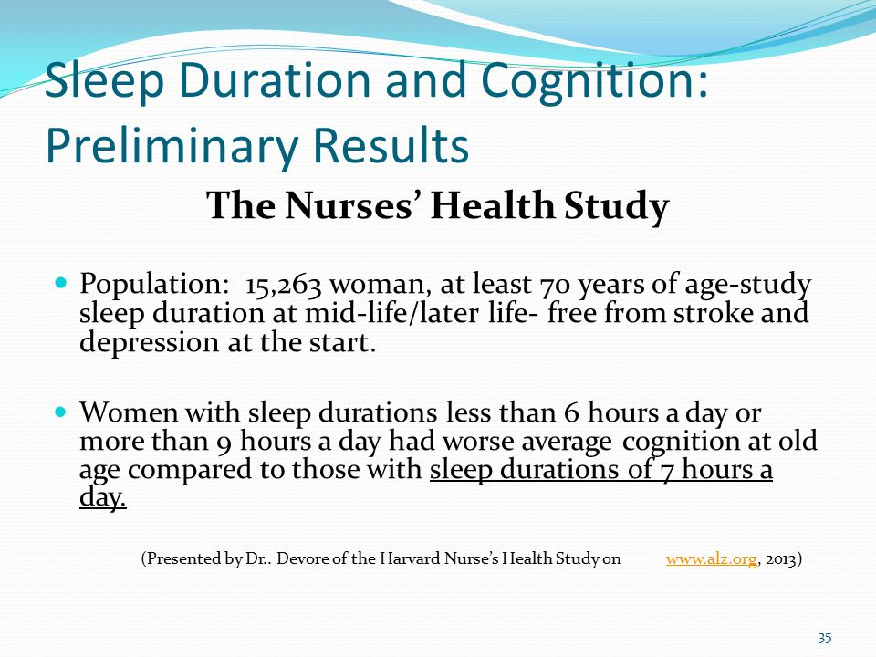 Sleep Duration and Cognition: Preliminary Results The Nurses' Health Study Population: 15,263 woman, at least 70 years of age-study sleep duration at