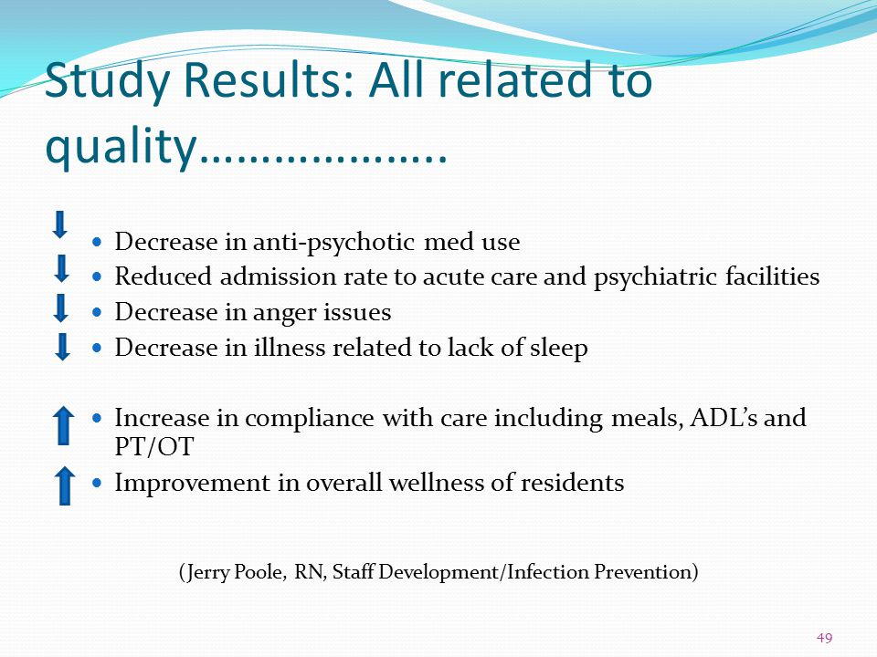 Study Results: All related to quality……………….. Decrease in anti-psychotic med use Reduced admission rate to acute care and psychiatric facilities Decre