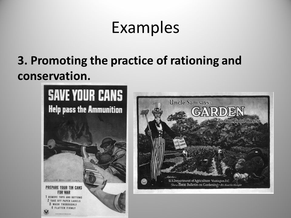 Examples 3. Promoting the practice of rationing and conservation.