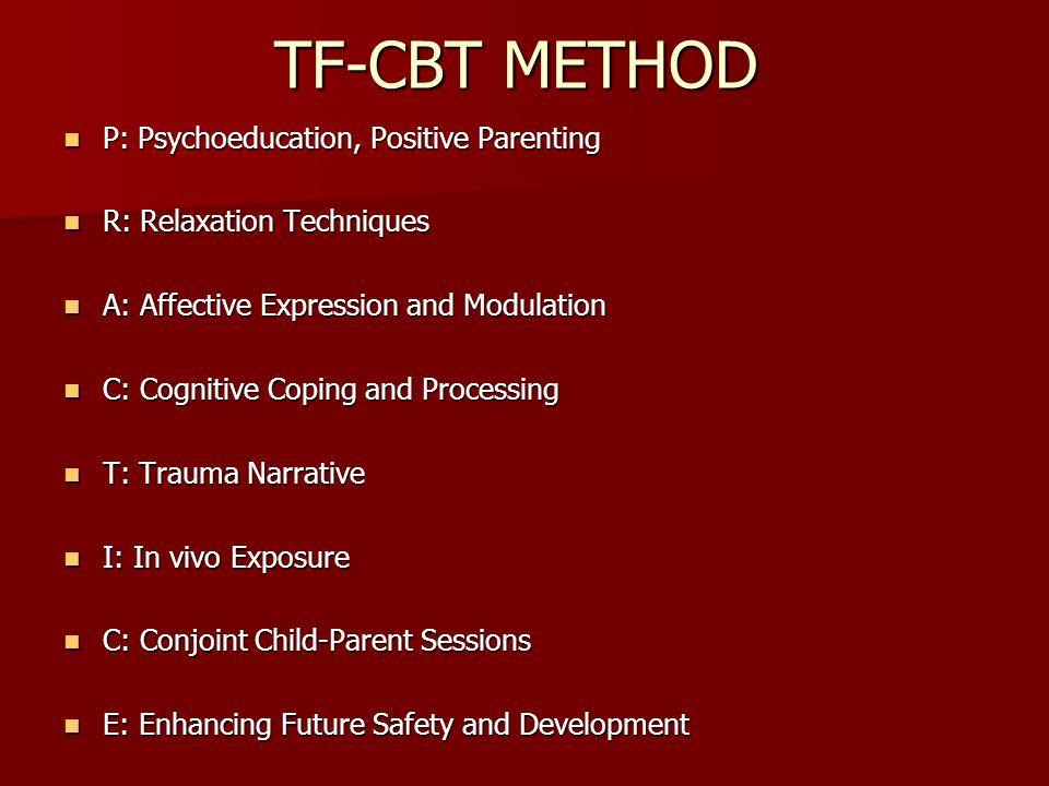 TF-CBT METHOD P: Psychoeducation, Positive Parenting P: Psychoeducation, Positive Parenting R: Relaxation Techniques R: Relaxation Techniques A: Affec