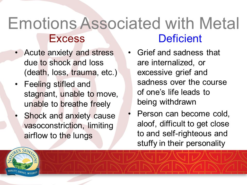 Emotions Associated with Metal Excess Acute anxiety and stress due to shock and loss (death, loss, trauma, etc.) Feeling stifled and stagnant, unable to move, unable to breathe freely Shock and anxiety cause vasoconstriction, limiting airflow to the lungs Deficient Grief and sadness that are internalized, or excessive grief and sadness over the course of one's life leads to being withdrawn Person can become cold, aloof, difficult to get close to and self-righteous and stuffy in their personality