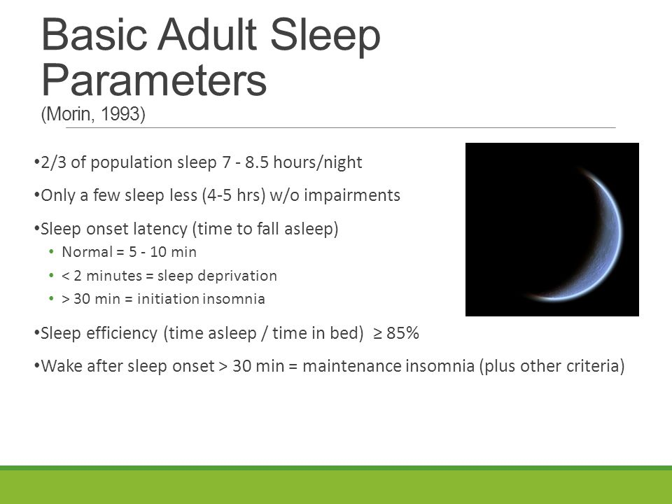 Basic Adult Sleep Parameters (Morin, 1993) 2/3 of population sleep 7 - 8.5 hours/night Only a few sleep less (4-5 hrs) w/o impairments Sleep onset latency (time to fall asleep) Normal = 5 - 10 min < 2 minutes = sleep deprivation > 30 min = initiation insomnia Sleep efficiency (time asleep / time in bed) ≥ 85% Wake after sleep onset > 30 min = maintenance insomnia (plus other criteria)