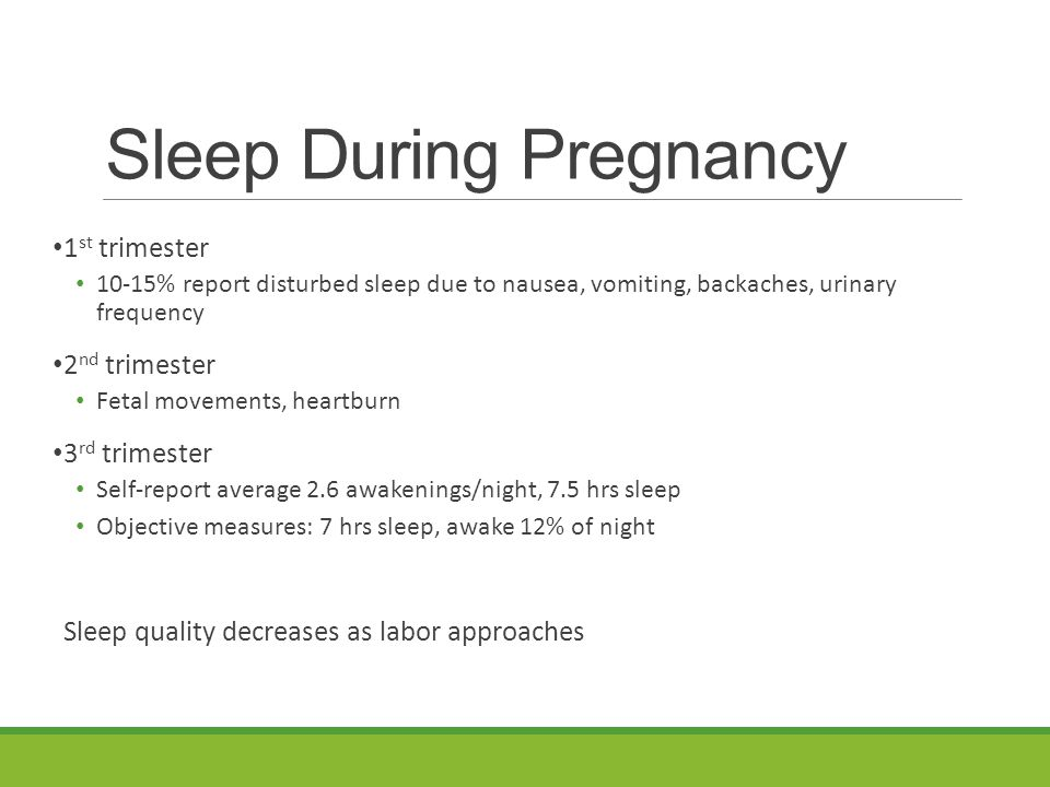 Sleep During Pregnancy 1 st trimester 10-15% report disturbed sleep due to nausea, vomiting, backaches, urinary frequency 2 nd trimester Fetal movements, heartburn 3 rd trimester Self-report average 2.6 awakenings/night, 7.5 hrs sleep Objective measures: 7 hrs sleep, awake 12% of night Sleep quality decreases as labor approaches