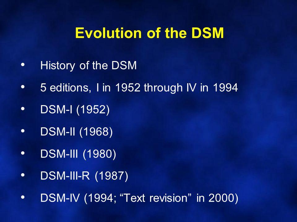 Evolution of the DSM History of the DSM 5 editions, I in 1952 through IV in 1994 DSM-I (1952) DSM-II (1968) DSM-III (1980) DSM-III-R (1987) DSM-IV (19