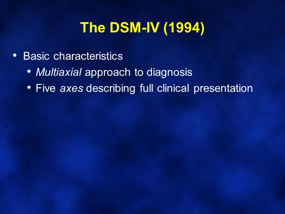 Basic characteristics Multiaxial approach to diagnosis Five axes describing full clinical presentation The DSM-IV (1994)