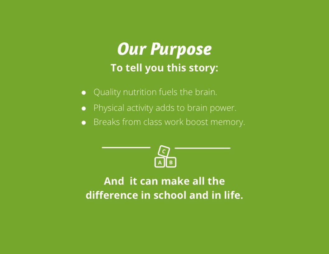 Our P urpose To tell you this story: Quality nutrition fuels the brain.