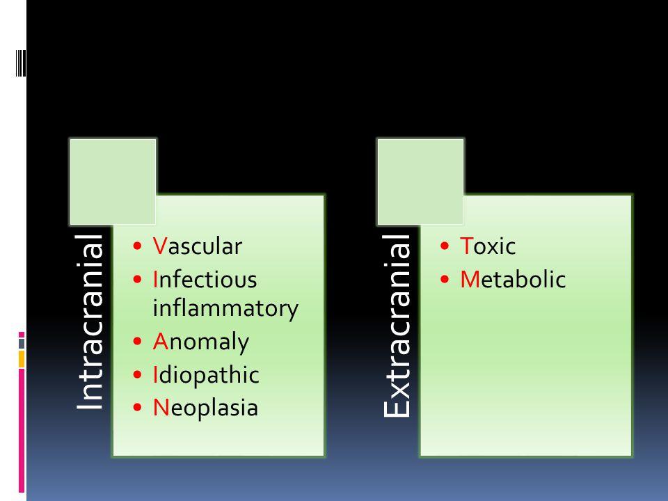 Intracranial Vascular Infectious inflammatory Anomaly Idiopathic Neoplasia Extracranial Toxic Metabolic
