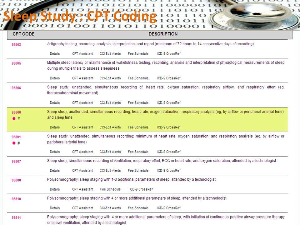 Sleep Study : CPT Coding