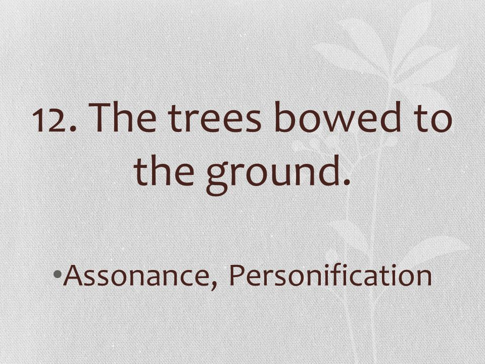12. The trees bowed to the ground. Assonance, Personification