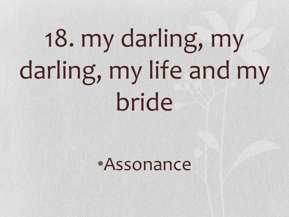 18. my darling, my darling, my life and my bride Assonance