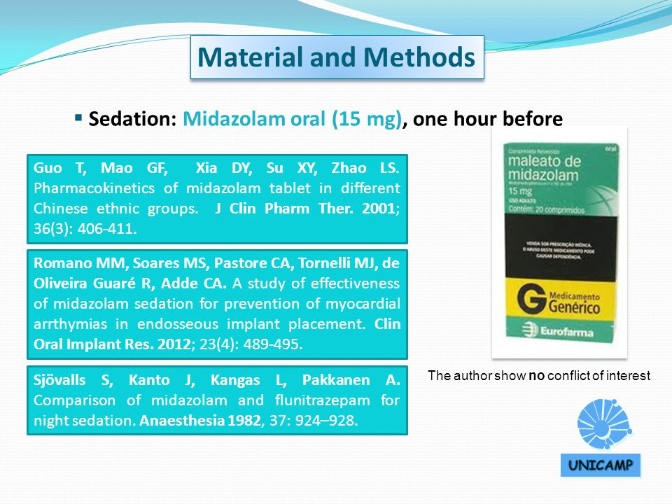  Sedation: Midazolam oral (15 mg), one hour before Material and Methods The author show no conflict of interest Guo T, Mao GF, Xia DY, Su XY, Zhao LS.