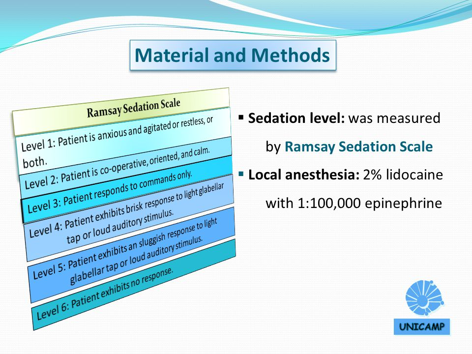 Sedation level: was measured by Ramsay Sedation Scale  Local anesthesia: 2% lidocaine with 1:100,000 epinephrine Material and Methods