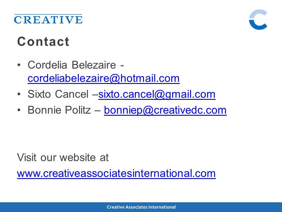 Contact Cordelia Belezaire - cordeliabelezaire@hotmail.com cordeliabelezaire@hotmail.com Sixto Cancel –sixto.cancel@gmail.comsixto.cancel@gmail.com Bonnie Politz – bonniep@creativedc.combonniep@creativedc.com Visit our website at www.creativeassociatesinternational.com