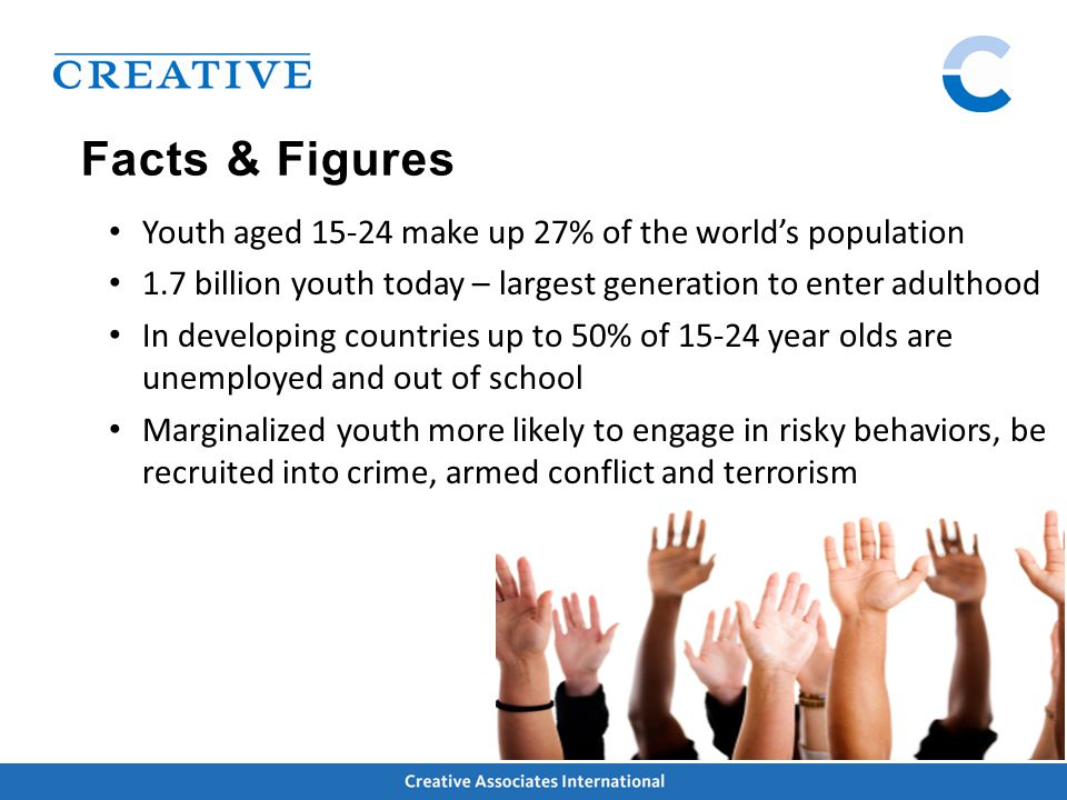 Facts & Figures Youth aged 15-24 make up 27% of the world's population 1.7 billion youth today – largest generation to enter adulthood In developing countries up to 50% of 15-24 year olds are unemployed and out of school Marginalized youth more likely to engage in risky behaviors, be recruited into crime, armed conflict and terrorism
