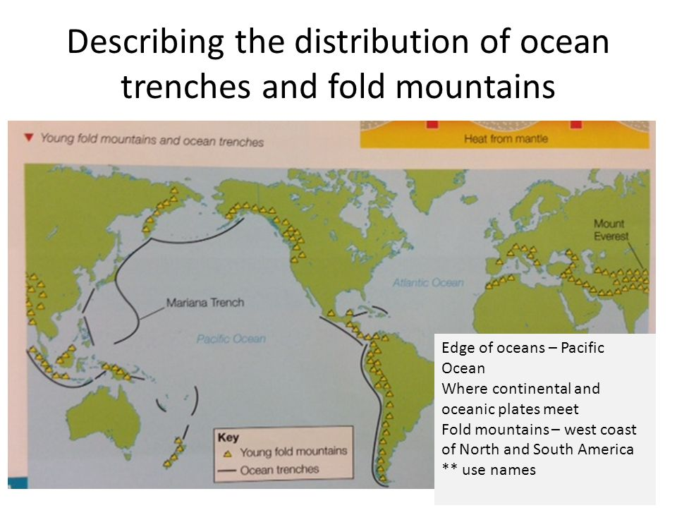 Describing the distribution of ocean trenches and fold mountains Edge of oceans – Pacific Ocean Where continental and oceanic plates meet Fold mountai